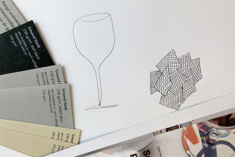 Illustration av vinglas med ett mönster från mormor blir personlig poster.